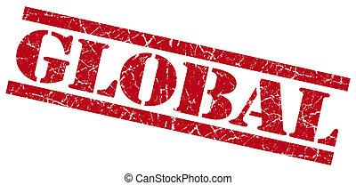 selo, global, fundo, grungy, branco vermelho