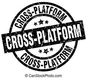 selo, grunge, pretas, redondo, cruz-plataforma
