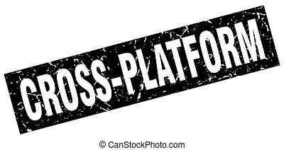 selo, grunge, quadrado, pretas, cruz-plataforma