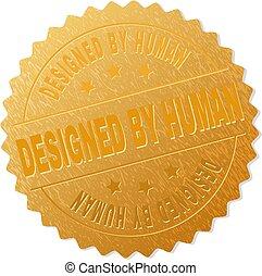 selo, human, medalha, projetado, ouro