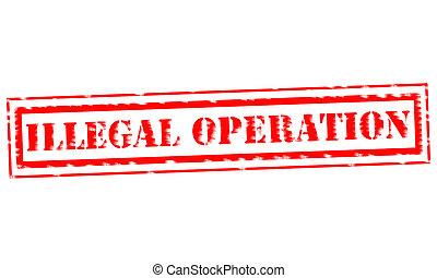 selo, ilegal, backgroud, texto, operação, branco vermelho