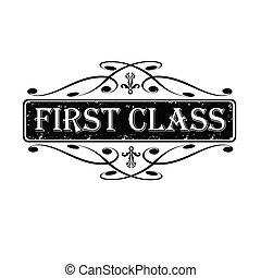 selo, ilustração, calligraphic, vetorial, etiqueta, classe, primeiro