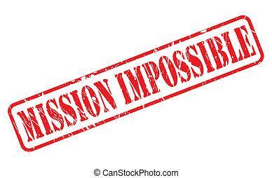 selo, impossível, missão, vermelho, texto