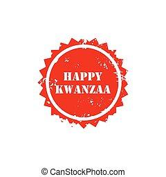 selo, kwanzaa., ilustração, feliz