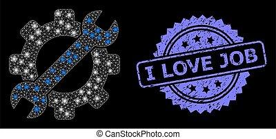 selo, malha, ferramenta, arranhado, amor, manchas, serviço correia fotorreceptora, trabalho, luminoso, resplendor