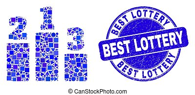 selo, melhor, loteria, selo, azul, arranhado, prêmio, lugares, mosaico