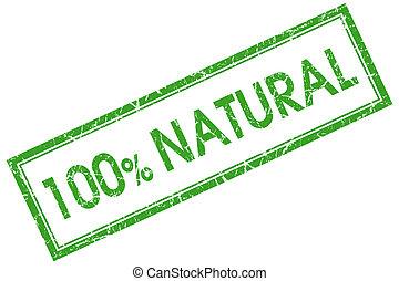 selo, natural, 100%, quadrado, verde