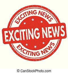 selo, notícia, excitante, ou, sinal
