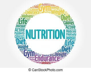 selo, nutrição, círculo, palavra, nuvem