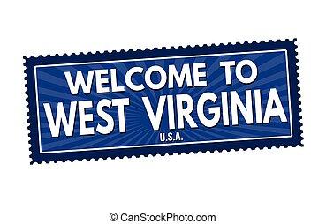 selo, oeste, viagem, bem-vindo, virgínia, ou, adesivo