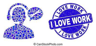 selo, operador, mensagem, grunge, amor, azul, serviço, trabalho, mosaico