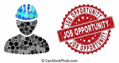 selo, oportunidade trabalho, colagem, trabalhador, pessoa, arranhado