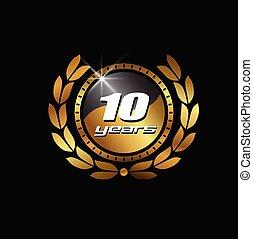 selo ouro, 10, anos, imagem, logotipo