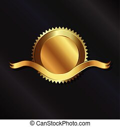 selo ouro, com, fita