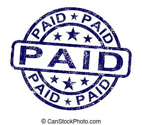 selo pago, mostra, pagamento, confirmação