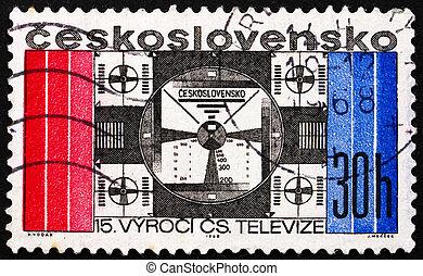 selo postal, checoslováquia, 1968, simbólico, tela televisão