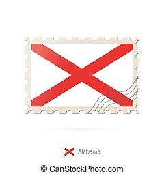 selo postal, flag., imagem, estado, alabama