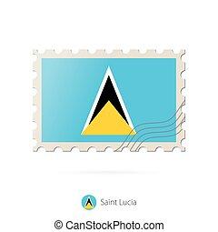 selo postal, flag., imagem, lucia, são