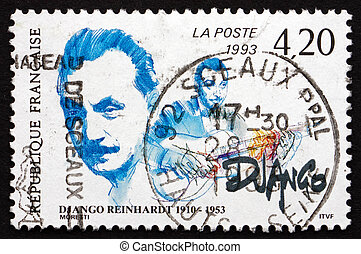 selo postal, frança, 1993, jean, django, reinhardt, músico