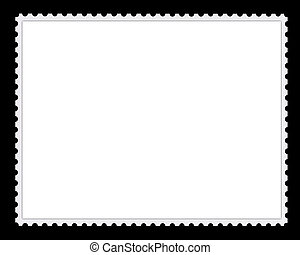 selo postal, fundo, em branco