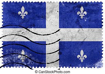 selo postal, quebec, antigas, bandeira