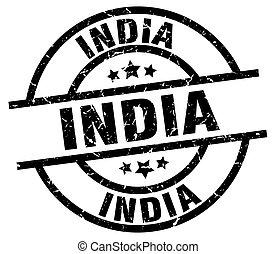 selo, pretas, índia, grunge, redondo