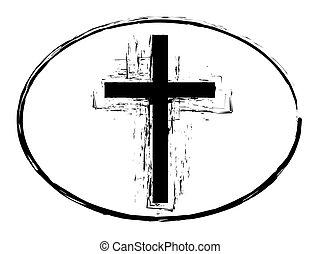 selo, pretas, símbolo, grunge, crucifixos