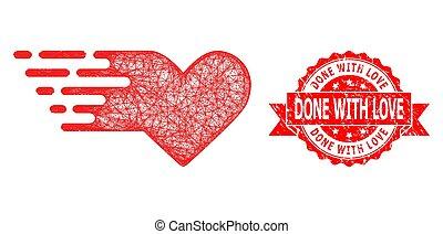 selo, rede, coração, feito, ícone, textured, selo, valentine, amor