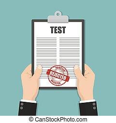 selo, rejeitado, área de transferência, segurar passa, teste, documento