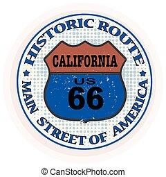 selo, rota, histórico,  Califórnia