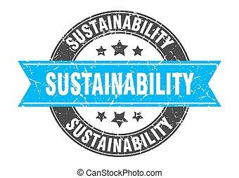 selo, sinal, redondo, etiqueta, ribbon., sustainability