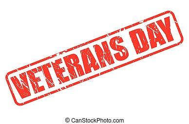 selo, texto, dia veterans, vermelho