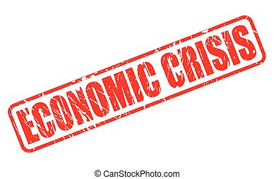 selo, texto, econômico, crise, vermelho