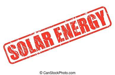 selo, texto, energia, solar, vermelho