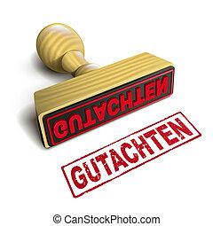 selo, texto, gutachten, alemão, branco vermelho