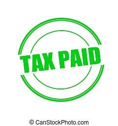 selo, texto, imposto, pago, experiência verde, círculo, branca