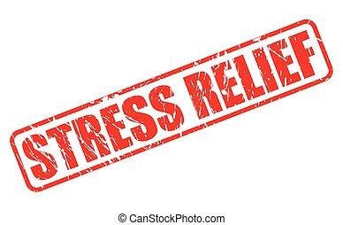 selo, texto, relevo stress, vermelho