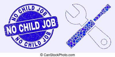 selo, trabalho, criança, mosaico, não, azul, ferramentas, arranhado, configurar