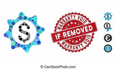 selo, vazio, se, ícone, selo, garantia, removido, dinheiro, colagem, angústia
