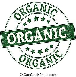 selo, verde, orgânica, redondo