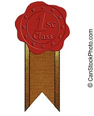 selo, vetorial, fita, cera, classe, vermelho, primeiro