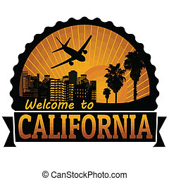 selo, viagem, califórnia, ou, etiqueta