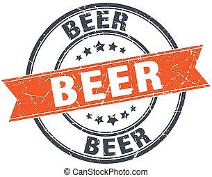 selo, vindima, isolado, laranja, cerveja, grungy, redondo