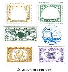 selos, ícone, jogo, correio aéreo