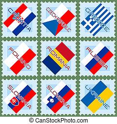 selos, bandeiras