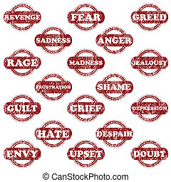 selos borracha, jogo, negativo, emoções