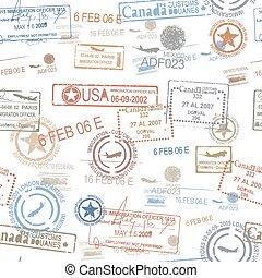 selos borracha, símbolo, passaporte, viagem