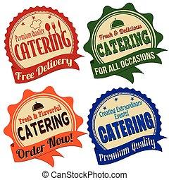 selos, catering, etiqueta, adesivo, ou