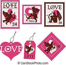 selos, cupid, etiquetas
