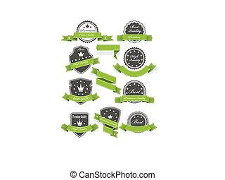 selos, e, medalhas, com, fitas